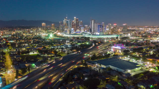 downtown los angeles aerial time lapse - hyper lapse stock videos & royalty-free footage