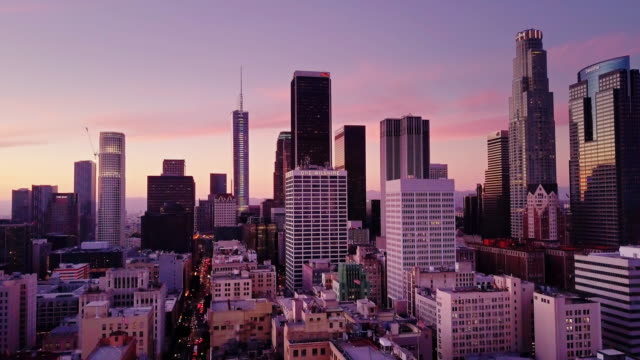 Downtown Los Angeles at Dusk - Aerial View