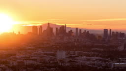 Downtown Los Angeles at Sunrise Timelapse