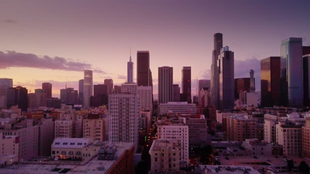 Downtown Los Angeles at Sunset - Aerial Shot