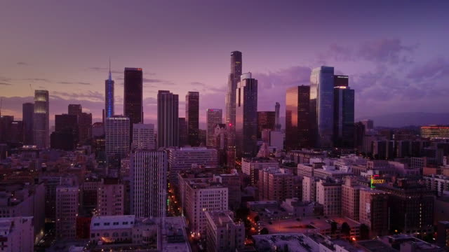 downtown los angeles at sunset - aerial shot - high street stock videos & royalty-free footage