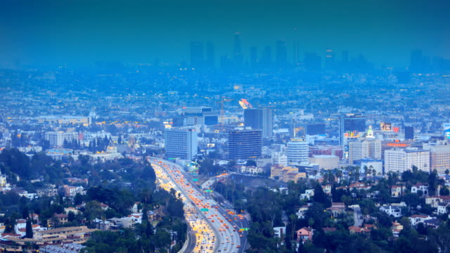 downtown los angeles, ca: us 101 highway traffic - staples centre stock videos & royalty-free footage