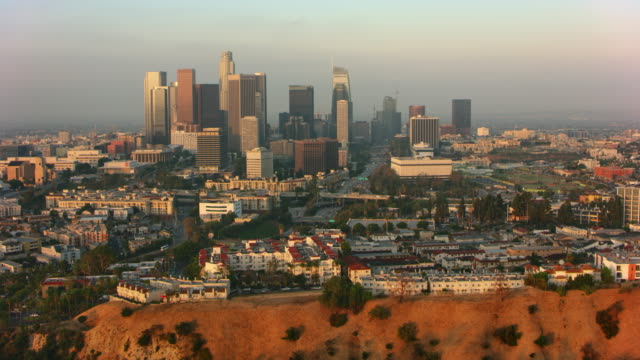 aerial downtown los angeles from the spiders view - los angeles county stock videos & royalty-free footage