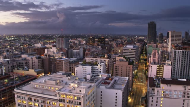 Downtown Los Angeles Historic Core at Sunrise - Aerial Establisher