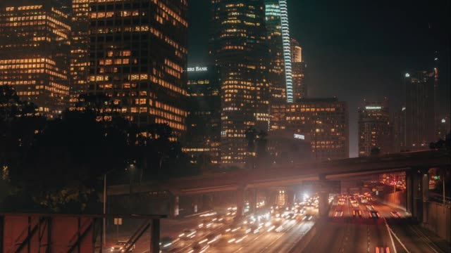 downtown los angeles night highway timelapse - staples centre stock videos & royalty-free footage