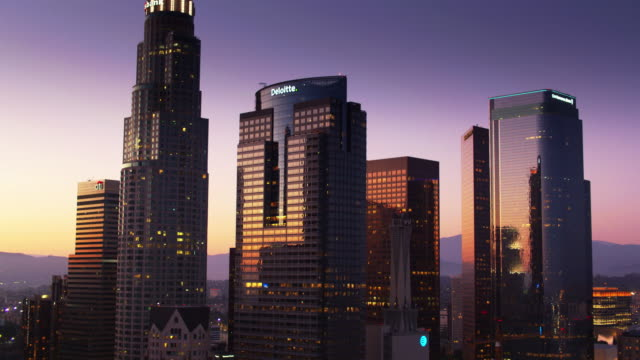 downtown los angeles office towers - descending drone shot with upwards tilt - last stock videos & royalty-free footage
