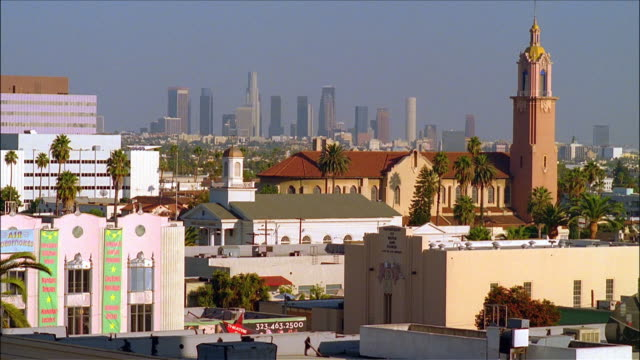 downtown los angeles skyline and surrounding city / los angeles, california - the dolby theatre stock videos & royalty-free footage
