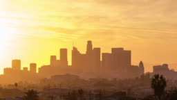 Downtown Los Angeles Skyline Day to Night Sunset Timelapse