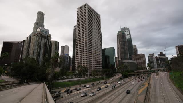 Downtown Los Angeles skyline timelapse