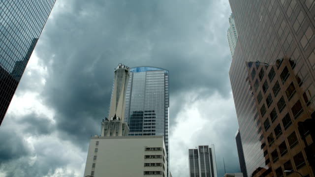 downtown los angeles with clouds-hd - ominous stock videos & royalty-free footage