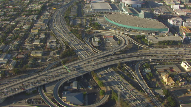 WS TU AERIAL POV Downtown Los Angeles with the Motorway Junction at Los Angeles, California