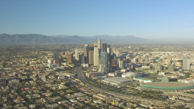 ws aerial pov downtown los angeles with the skyscrapers at los angeles, california - 2015 stock videos & royalty-free footage