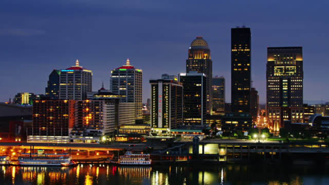 downtown louisville at night - aerial - kentucky stock videos & royalty-free footage