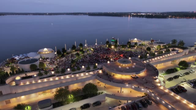 Downtown Madison Concert Timelapse / Monona Terrace/ Day to Night