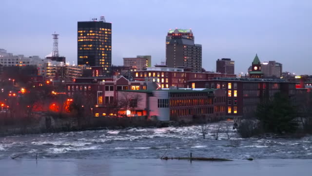 downtown manchester along the merrimack river - new hampshire stock videos & royalty-free footage