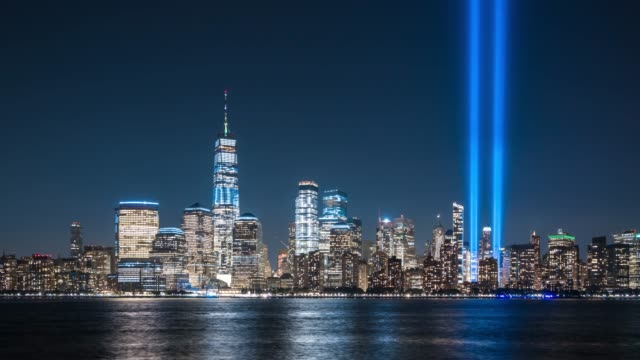 t/l ws zo downtown manhattan skyline at night / new york city, usa - september 11 2001 attacks stock videos and b-roll footage