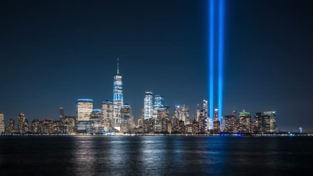 t/l ws downtown manhattan skyline at night / new york city, usa - september 11 2001 attacks stock videos & royalty-free footage