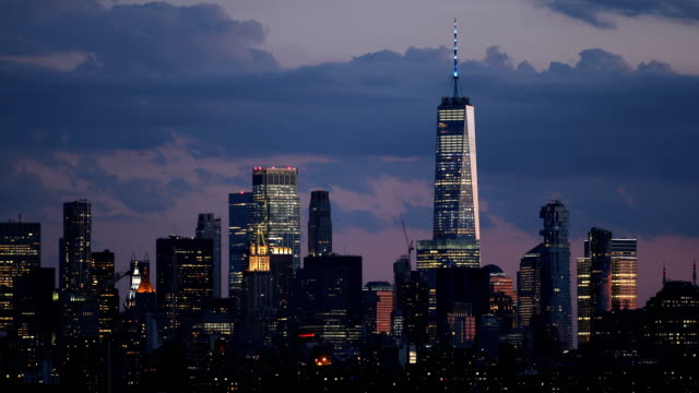 downtown manhattan skyline dusk - skyline stock videos & royalty-free footage