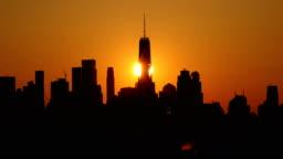 Downtown Manhattan Skyline Sunset