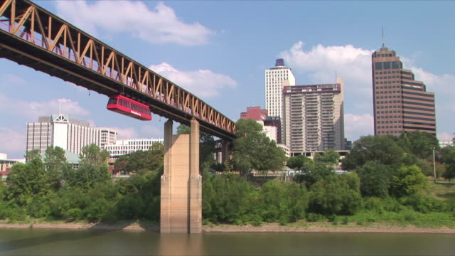 ws downtown memphis and monorail from mud island river park, mississippi river, memphis, tennessee, usa - memphis tennessee stock videos and b-roll footage