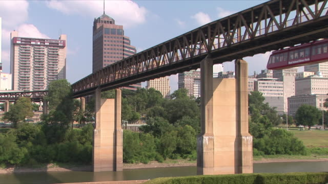 ws downtown memphis and monorail from mud island river park, mississippi river, memphis, tennessee, usa - monorail stock videos & royalty-free footage