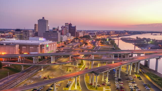 downtown memphis tennessee skyline at twilight - tennessee stock videos & royalty-free footage