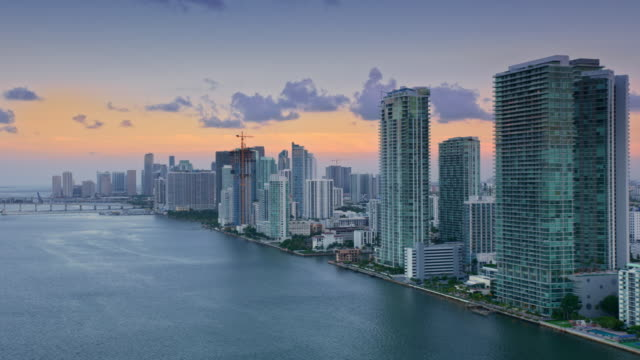 aerial downtown miami, fl from edgewater at sunset - miami stock videos & royalty-free footage