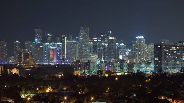 downtown miami, florida, usa cityscape timelapse at night - nightlife stock videos & royalty-free footage