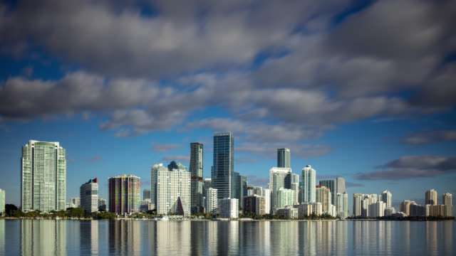 downtown miami skyline in the morning - time lapse - bay of water stock videos & royalty-free footage