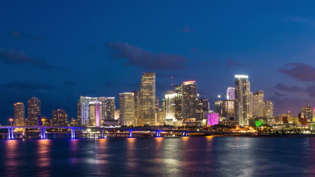 downtown miami skyline, miami, florida, usa, north america - マイアミ点の映像素材/bロール