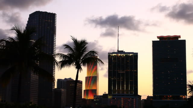 downtown miami sunset silhoutte - miami dade county stock videos and b-roll footage