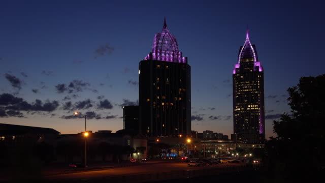 Downtown Mobile, Alabama Skyline at Night