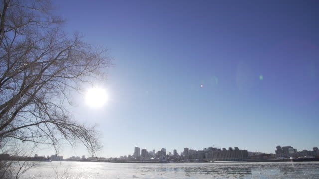 WS of downtown Montreal and St. Lawrence River in winter