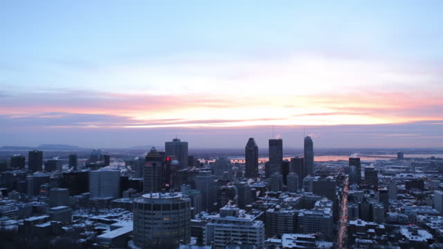 downtown montreal at dawn in the winter - montreal stock videos & royalty-free footage
