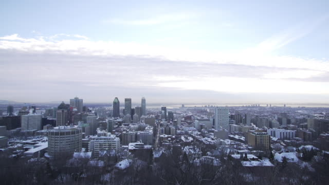 ws of downtown montreal in winter - montreal stock videos and b-roll footage