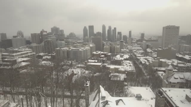 downtown montreal in winter - montreal video stock e b–roll