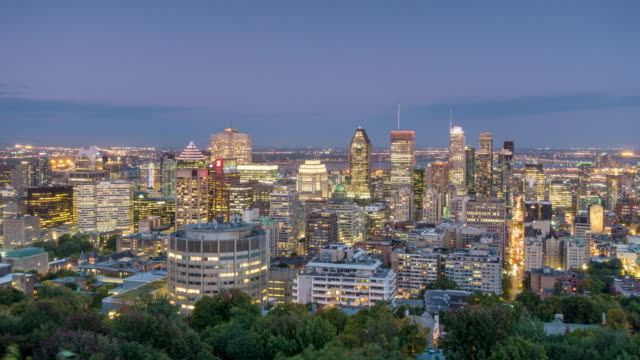 downtown montreal skyline from top view in canada - montréal stock videos & royalty-free footage