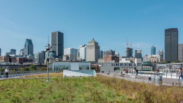 カナダのトップビューからモントリオールのダウンタウンのスカイライン - montréal点の映像素材/bロール