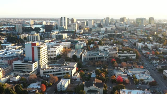 downtown oakland skyline, aerial - oakland california stock videos & royalty-free footage