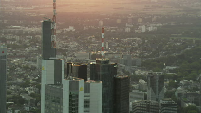 aerial downtown of frankfurt am main at sunset, hesse, germany - frankfurt main stock videos and b-roll footage