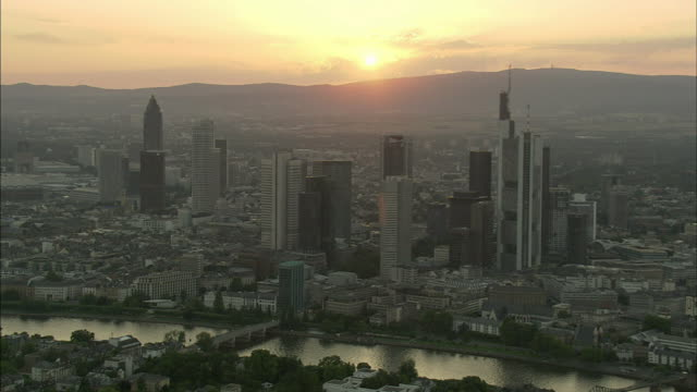 AERIAL Downtown of Frankfurt am Main at sunset, Hesse, Germany