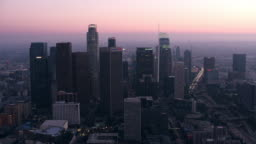 AERIAL Downtown of Los Angeles, CA at dusk