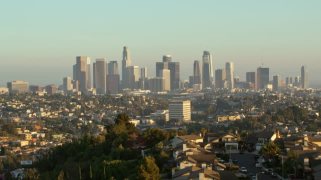 aerial downtown of los angeles, ca - skyline stock videos & royalty-free footage