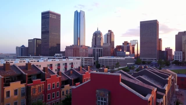 downtown okc from deep deuce - oklahoma stock-videos und b-roll-filmmaterial