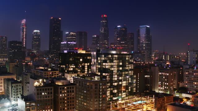 Downtown LA on Hazy night - Aerial Establisher