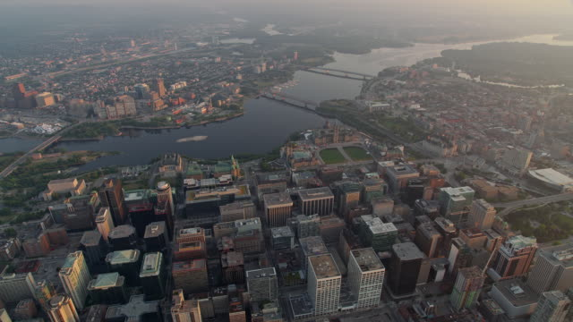 aerial downtown ottawa and gatineau at sunrise - gatineau stock videos & royalty-free footage