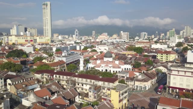 downtown overview of georgetown, penang, malaysia - penang stock videos and b-roll footage