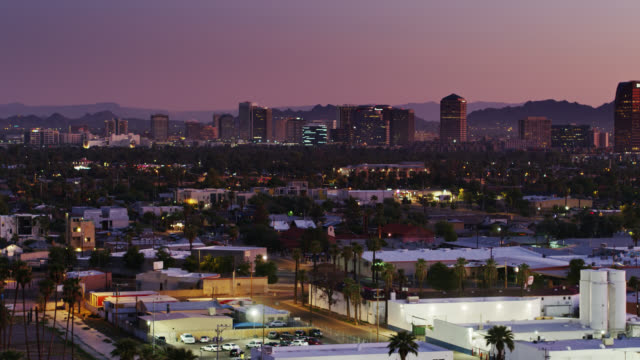 downtown phoenix skyline at dawn - drone shot - phoenix arizona stock videos & royalty-free footage