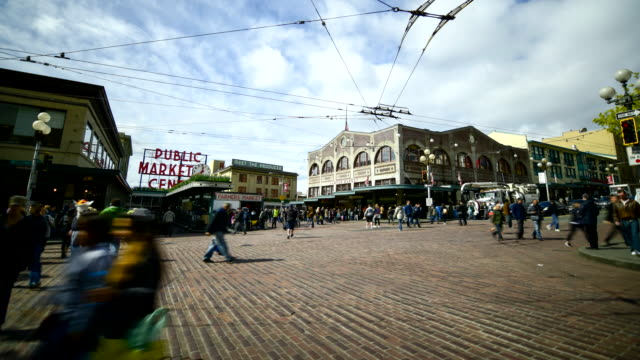 downtown pike place street seattle,  timelapse - pike place market stock videos and b-roll footage