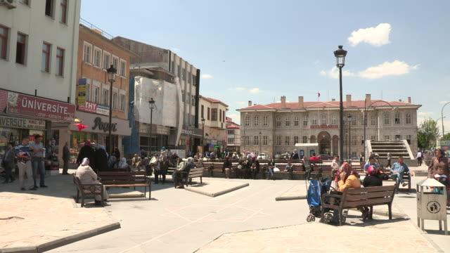downtown plaza, konya, turkey - bench stock videos & royalty-free footage